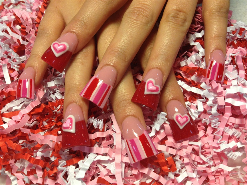 3 D Valentine Hearts Nail Art Gallery
