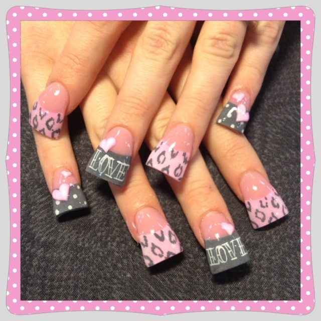 Pink And Grey Valentine Nail Art Gallery