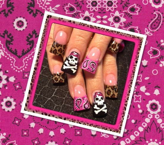 Pink bandana, leopard, and skulls