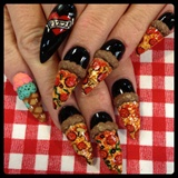 3-d pizza nails ( with ice cream )