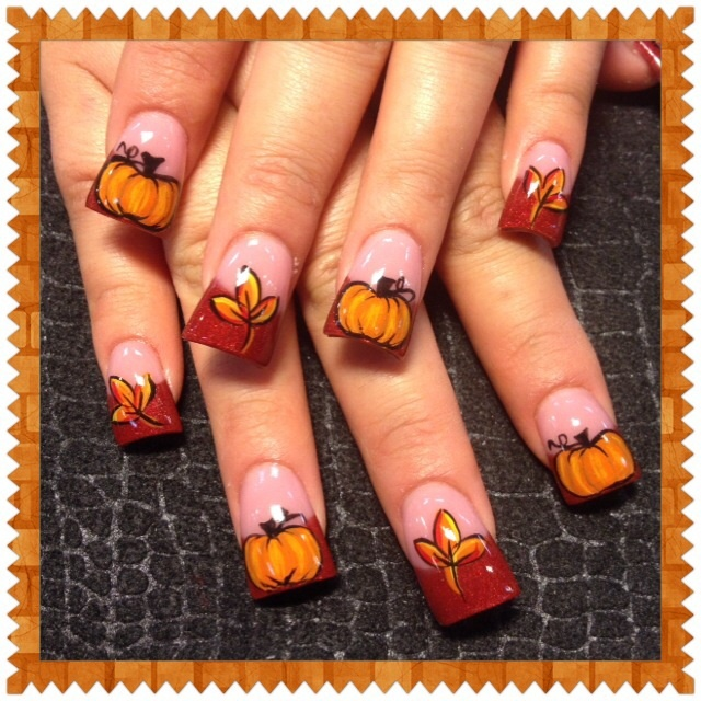 Fall leaves and pumpkins 2 - Nail Art Gallery