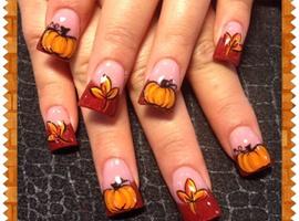 nail art: Fall leaves and pumpkins 2