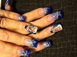 nail art: Snowman and snowflakes
