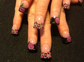 Pink Leopard And Roses
