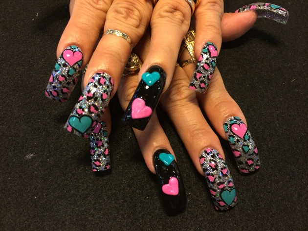 3-D Hearts And Leopard