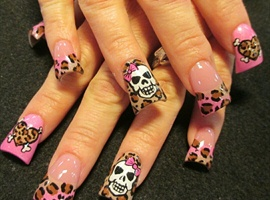 Pink and leopard skulls