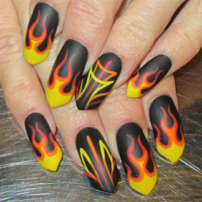 Flames And Pinstripes Nail Art Gallery