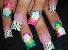 nail art: neon zebra