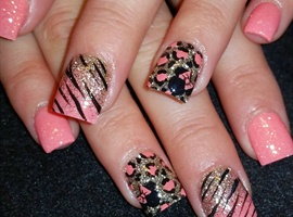 nail art: lil Minnie leopard and zebra