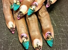 nail art: Beach silhouette