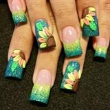 3d neon sunflowers