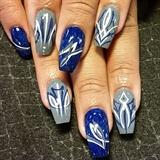 Blue and grey pinstriping