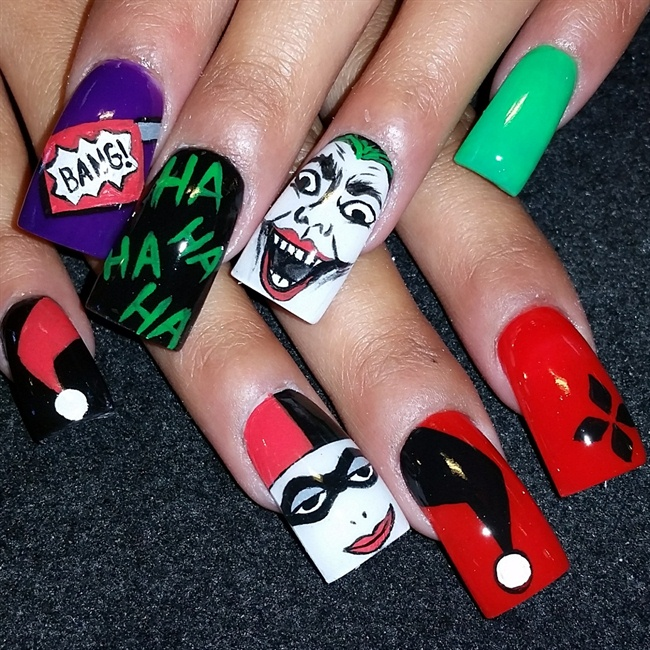 Joker and Harley Quinn - Nail Art Gallery
