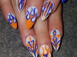 nail art: Flames and pinstripes
