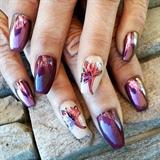 Rainbow chrome fall nails
