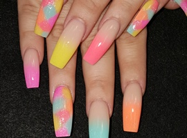 nail art: Spring multi ombre