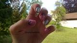 Romantic silver pink nails