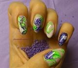 Purple roses nails