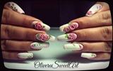 3D Roses nails