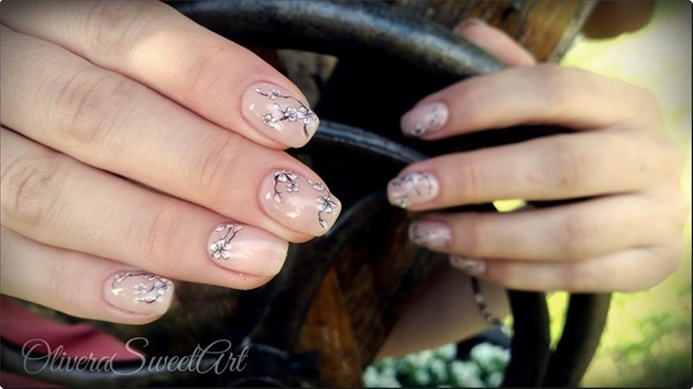 Cherry blossom tree nude nails