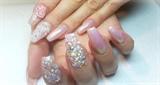 Princess nails with swarovski & 3d rose