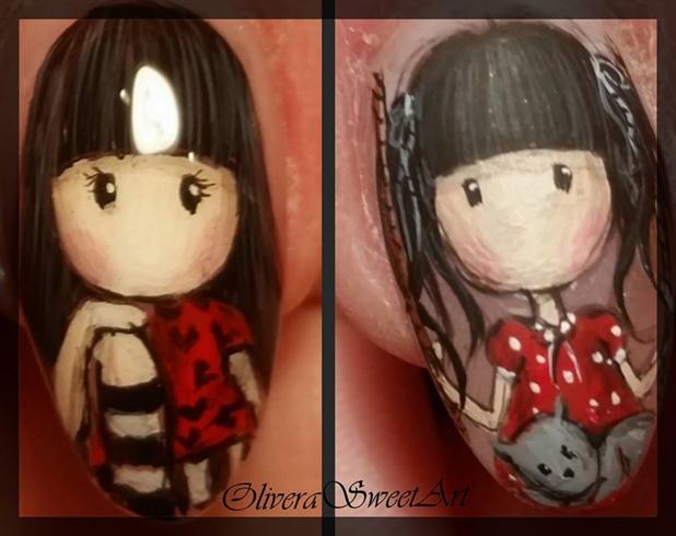 Gorjuss / Santoro doll nail art