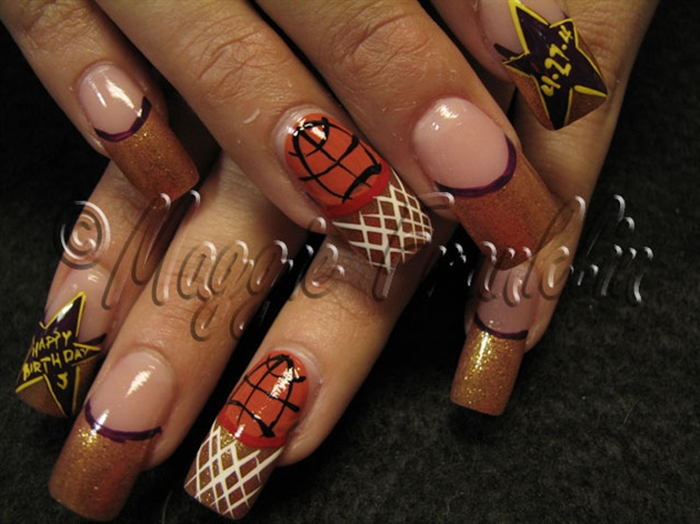 Basketball nail art - Basketball Nail Art - Nail Art Gallery