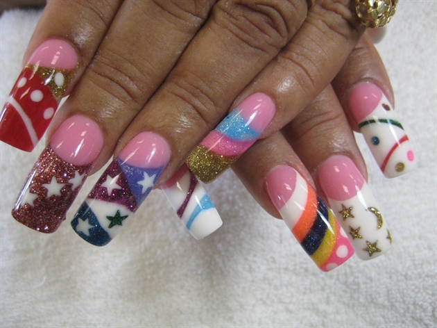 multi- colored acrylic nail designs