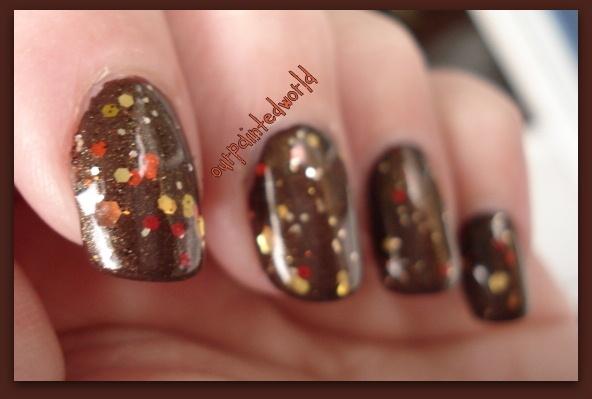 Chocolate & Glitter Fall Nails
