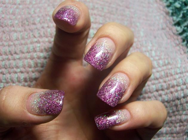 Purple Glitter Fade Nail Art Gallery