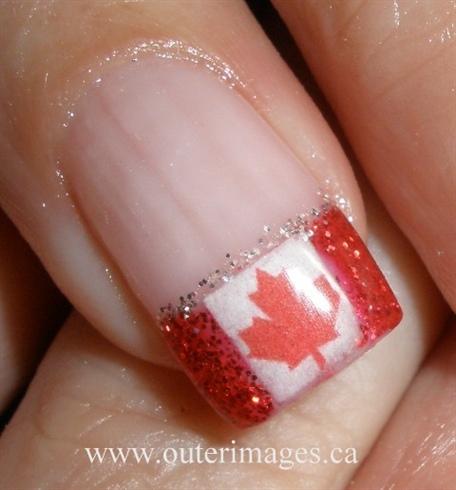 Canada Day Nails Close up