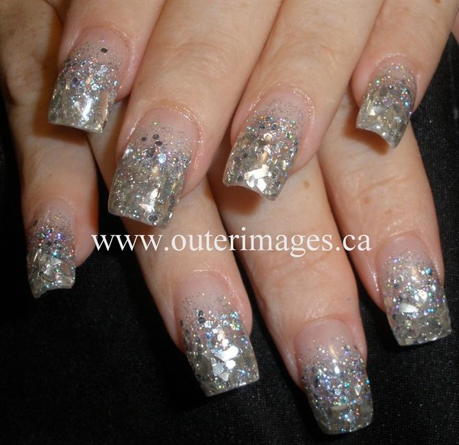 Chunky Silver Glitter Mix & Mirror Mylar - Nail Art Gallery