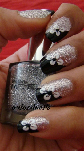 black silver flowers
