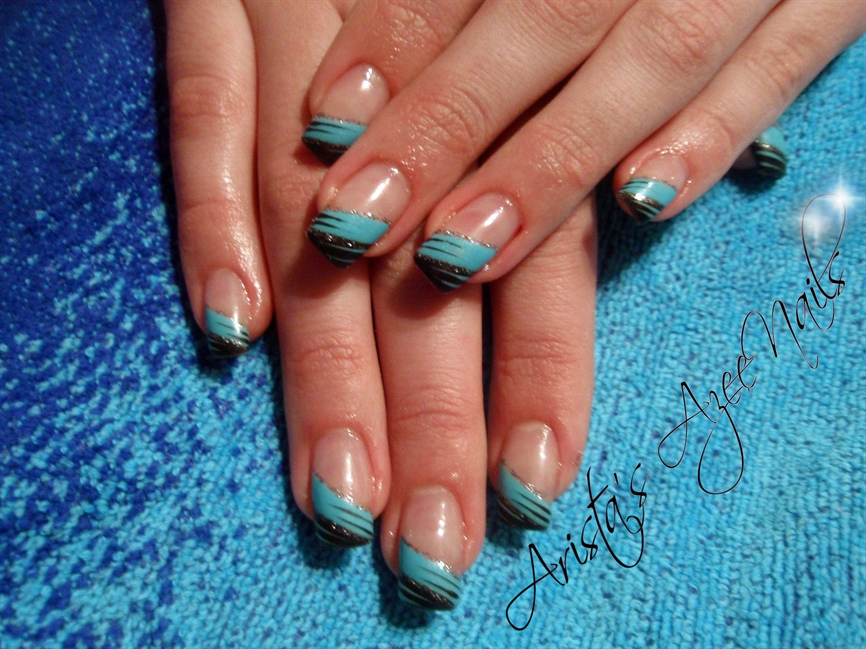 Angled blue-black French manicure - Nail Art Gallery