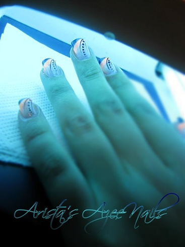 Neon orange and black French manicure