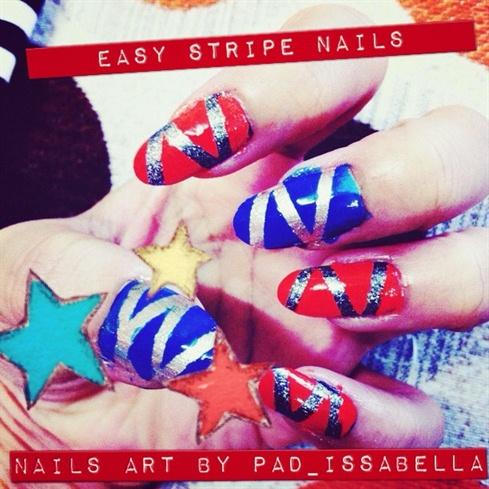 stripe nails art