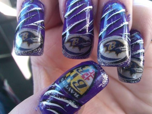 Superbowl nails- Go Ravens