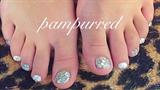 Silver Glitter Gel Pedicure