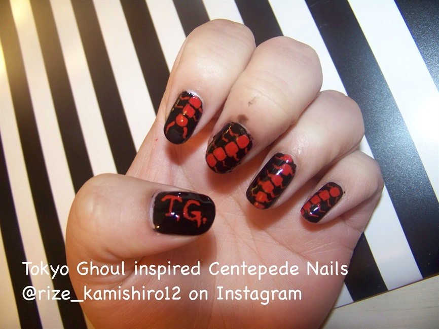 Tokyo Ghoul inspired Centipede Nails - Nail Art Gallery