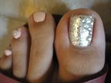 Matte Pink Gems & Glitter Toe Nail Art