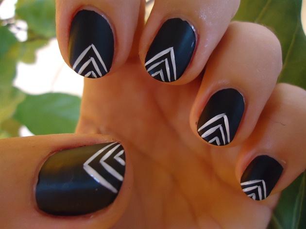 Matte Black Tribal Nail Art #1