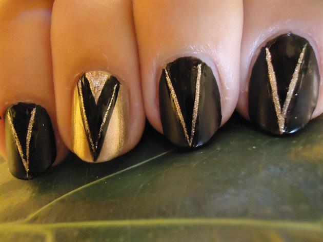 Matte Black Tribal Nail Art #2