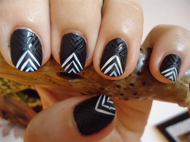 Matte Black Tribal Nail Art #3