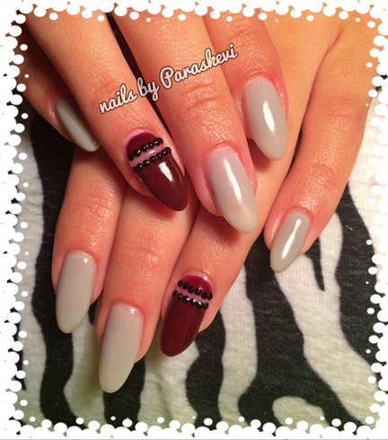 Red Wine And Gray Nails