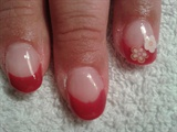 red french tip with flower