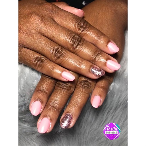 Pink Gel Polish on Natural Nails