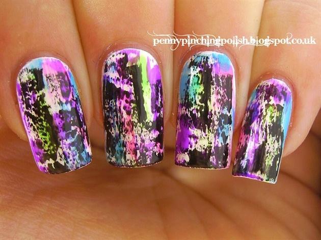 Grungy neon brushstroke nail art