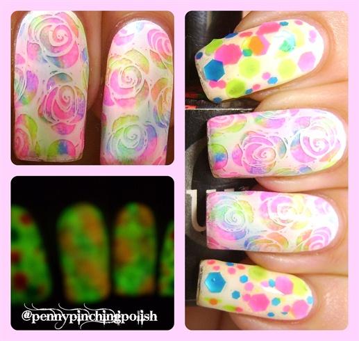 Glow in the dark neon roses + glitter
