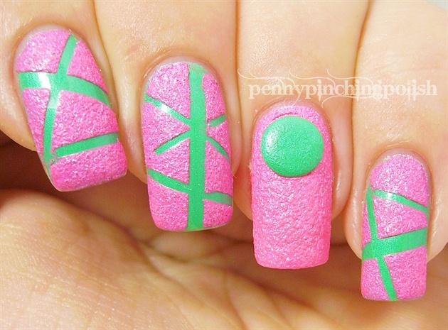 Neon texture striping tape nail art
