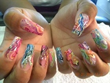 color acrylic,w glitter & handpaint
